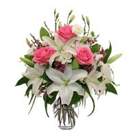 Buy Pink Roses and White Lily in Vase 12 Flowers Delivery to Bangalore