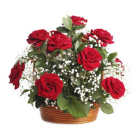 Send Red Roses Basket 18 Flowers Online