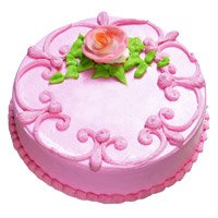 Send 1 Kg Eggless Strawberry Cake to Bangalore