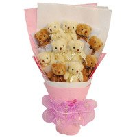 Online Birthday Gift Delivery to Bengaluru Gokula for a Bouquet of 11 Small Teddy Bears.