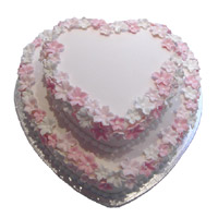 Send 3 Kg Two Tier Heart Shape Strawberry Cake to Bangalore Same Day Delivery