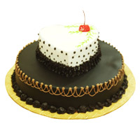 4 Kg Two Tier Heart Chocolate Vanilla 2-in-1 Cake Delivery to Bangalore
