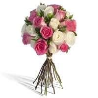 Best Florist in Bangalore.White Pink Roses Bouquet 24 Flowers