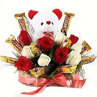 Send 36 Red White Roses 16 Pcs Ferrero Rocher Bouquet Bangalore on Friendship Day