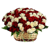 Online Delivery of Red White Roses Basket 50 Flowersin Bengaluru