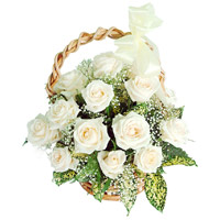 Online Flower Delivery Same Day in Bangalore, White Roses Basket 12 Flowers