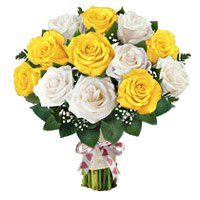Deliver New Year Flowers to Bangalore like Yellow White Roses Bouquet 12 Flowers in Bengaluru