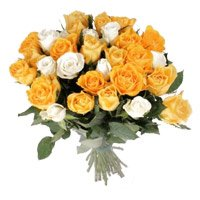 Buy Fresh New Year Flowers in Bangalore also send Orange White Roses Bouquet 35 Flowers to Bengaluru