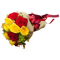 Deliver New Year Flowers in Bangalore along with Red Yellow Roses Bouquet 12 Flowers to Bangalore