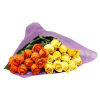 Place Online Order for New Year Flowers to Bangalore consist of Yellow Orange Roses Bouquet 24 Flowers to Bangalore