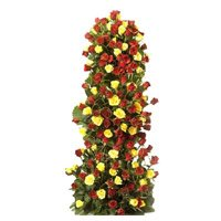 Send Yellow Red Roses Tall Arrangement 100 Flowers to Bengalore consist of Best New Year Flowers to Bangalore.