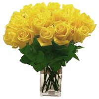 Send Yellow Roses Vase Arrangement of 36 Flowers to Bengaluru Shanthinagar