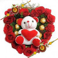 Send 18 Red Roses 5 Ferrero Rocher Teddy Heart. Send Gifts to Bangalore