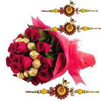 Send Online 16 pcs Ferrero Rocher 24 Red Roses Bouquet with Rakhi to Bangalore