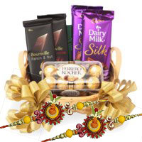 Send Silk, Bournville and Ferrero Rocher Chocolate Basket of Rakhi Gifts to Bangalore
