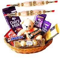 Rakhi Gift Delivery in Bangalore incuding of Exotic Chocolate Basket With 6 Inch Teddy