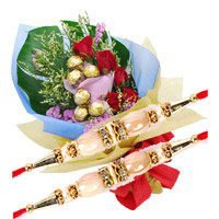 Order 6 Red Roses and 10 Pcs Ferrero Rocher Bouquet Delivery Bangalore
