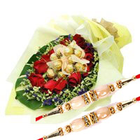 Deliver 12 Red Roses with 10 Ferrero Rocher Bouquet. Online Rakhi Gifts to Bangalore