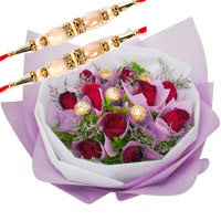 Online Rakhi Gift Delivery of 12 Red Roses 5 Ferrero Rocher Bouquet Bangalore