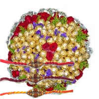 Send Rakhi Gift of 20 Red Roses and 80 Pcs Ferrero Rocher Bouquet in Bangalore