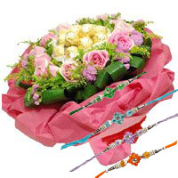 Deliver Online 24 Pink Roses and 24 Pcs Ferrero Rocher Bouquet with Rakhi to Bangalore