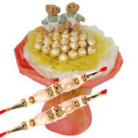 Place order to send Rakhi gifts to Bangalore. 16 Pcs Ferrero Rocher Twin 6 Inch Teddy Bouquet Bangalore