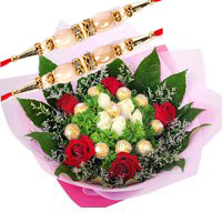 Send Rakhi Gifts to Bangalore. Online 10 Pcs Ferrero Rocher with 10 Red White Roses Bouquet to Bangalore
