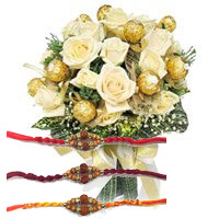 Rakhi Gift Delivery in Bangalore. Send 16 Pcs Ferrero Rocher with 16 White Roses Bouquet