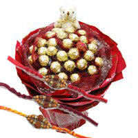 Online Rakhi Gift Delivery in Bangalore. 24 Pcs Ferrero Rocher 6 Inch Teddy Bouquet Bangalore