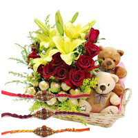 Send 2 Lily 12 Roses 16 Ferrero Rocher Twin Small Teddy Basket with Rakhi to Bangalore