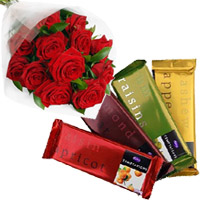 New Year Gifts Delivery in Bangalore along with 4 Cadbury Temptation Bars with 12 Red Roses Bunch