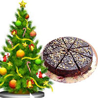 Online Christmas Gifts in Bengaluru also send Christmas Tree (3 feet) with 1 Kg Plum Cake in Bangaluru