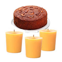 Place order to send Christmas Gifts in Bangalore including Set of 3 Candles with 500 gm Plum Cake