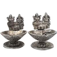 Online Diwali Gifts to CV Raman Nagar Bangalore, Pair of Two Aluminium Diya with Ganesh Lakshmi