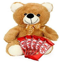 Deliver 16 inch Hated Teddy Bear with Heart with Christmas Gifts to Bangalore
